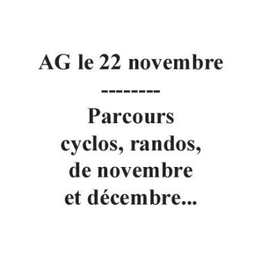 AG et parcours novembre et décembre